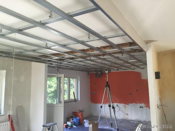 Faux plafond double ossature Chantier en cours