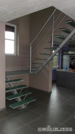Escalier Inox Palier double en verre