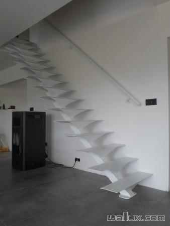 Escalier laqué blanc
