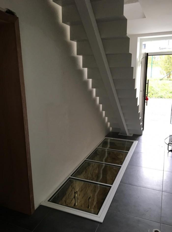 Escalier tôle pliée + trappe de sol