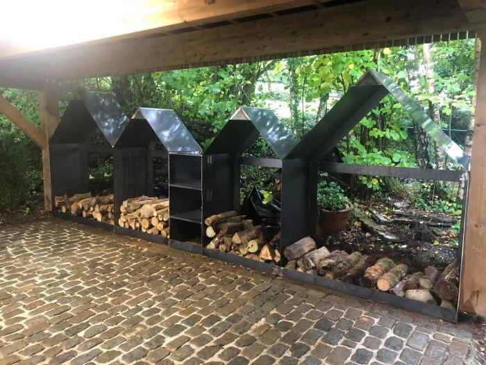 Abris de bois en acier corten