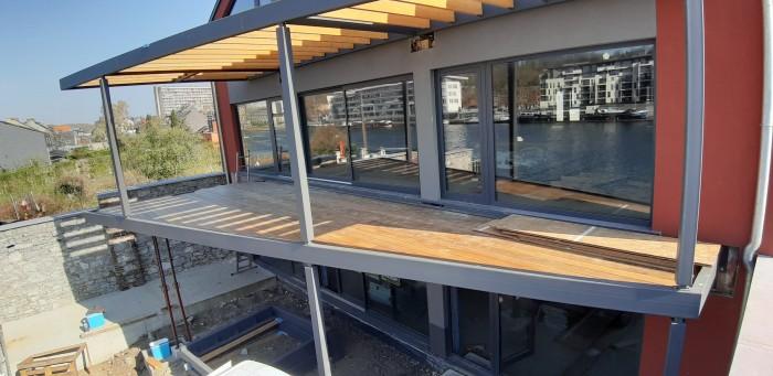 Terrasse sur pilotis métal + bois
