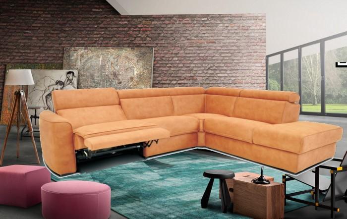 Salon tissu d'angle avec relax