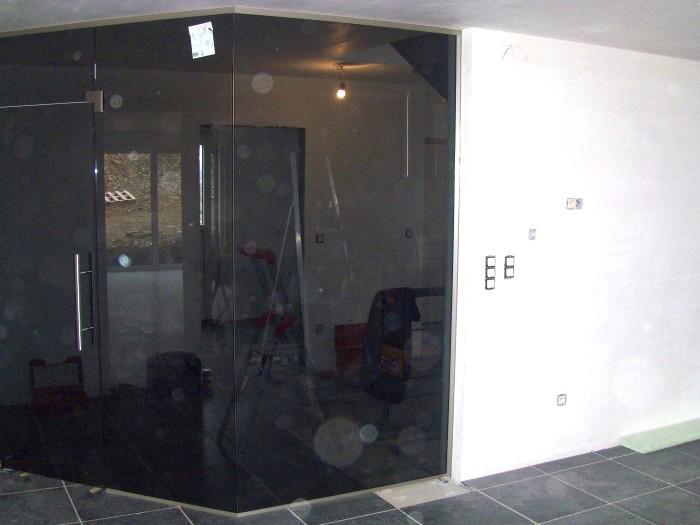 Porte + cloison verre noir