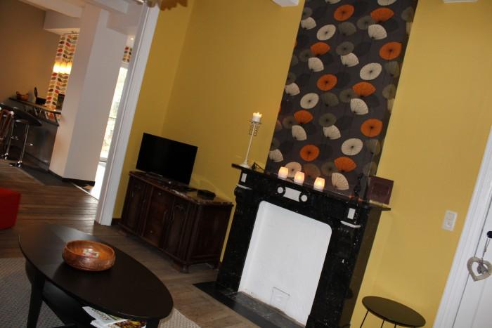 Le salon et son ancienne cheminée